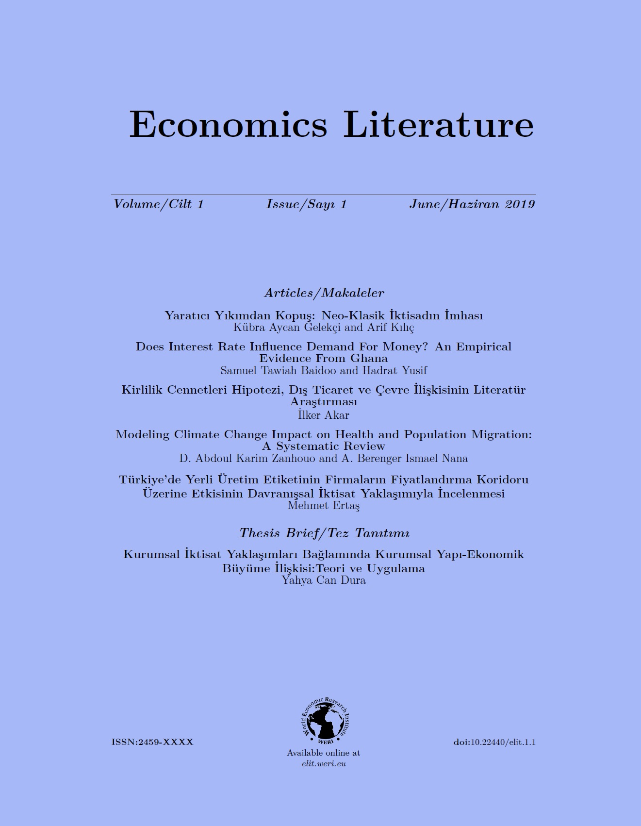 Economics Literature Vol 1 Issue 1